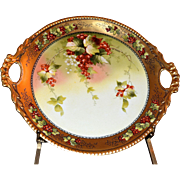 Limoges Open Handled Cake Plate Red Currants Signed Pickard Artist Donath