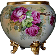 Limoges Gold Footed Jardiniere with Red and Pink Huge Roses