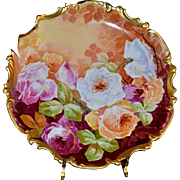 "Limoges 13.5"" Gold Framed Charger Filled with Pink/Red?White/Yellow Roses Signed Luc"