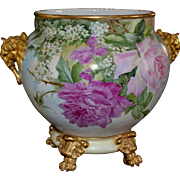 Limoges Breathtaking Gold Elephant Handled Jardiniere Pink and Red Roses with Gold Pawed Footed Plinth/Base