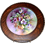 Limoges Wood Framed Porcelain Plaque of Vibrant Purple and Yellow Pansies