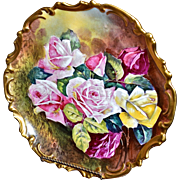Limoges Breathtaking Museum Quality Charger/Wall Plaque Pink, Yellow and Red Roses