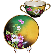 Limoges Two Handled Bouillon Tea Cup & Saucer Rose Decor Signed Master Artist Roby