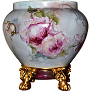 Limoges Lovely Jardiniere with Pink and White Roses and Heavy Raised Gold Detailing