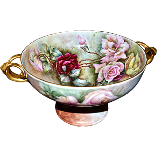 Large Gold Handled Footed Center Bowl or Compote Covered in Lush Roses and Signed By Artist