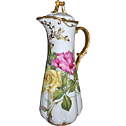 Limoges Chocolate Pot with Gold Bow Finial and Red, Pink and Yellow Roses with Melon Ribbed Base and Wonderful Gold Detailing