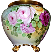 Limoges Huge Golden Footed Signed Jardiniere with Exquisite Pink, Yellow and Red Roses and Wide Gold Black Etched Rim