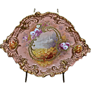 Limoges Exquisite Museum Quality Plaque/Charger Signed Master Artist Bronssillon with Stunning Scenic Decor, Roses, Daisies and Outstanding Heavy Gold Embellishment