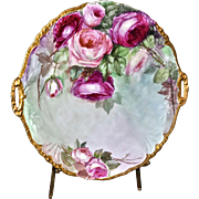 "Limoges Large 13.75"" Open Handled Charger/Cake Plate Covered in Red and Pink Roses"