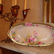 Tressemann & Vogt Limoges Rose Filled Bread Tray