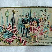 Girls Holding Flags Band In Background Decoration Memorial Postcard