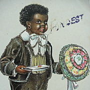 Black Americana Fondest Wishes Postcard Boy Holding Flower Bouquet