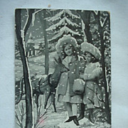 Best Christmas Wishes Postcard Two Girls With Reindeer