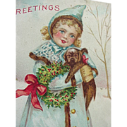 Greeting Christmas Postcard Girl Holding Her Puppy
