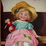 Christmas Postcard Ellen Clapsaddle Best Wishes Girl Holding Her Doll - Red Tag Sale Item