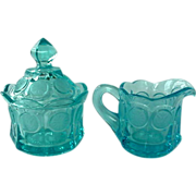 Fostoria Blue Coin Glass Set Creamer And Lidded Sugar Bowl
