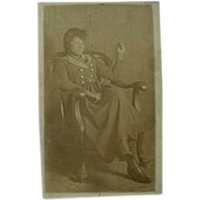Black Americana Real Life Postcard Woman In Chair High Top Shoes