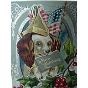 Patriotic Christmas Postcard Dog Holding American Flag