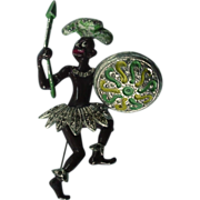 Black Americana Trembler Native Pin Brooch With Shield