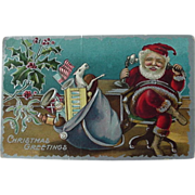 Santa On Phone Christmas Postcard Bag Full Of Toys American Flag