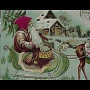 Santa In Sleigh Christmas Postcard With Silk Cloth Hat