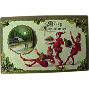 Christmas Elves Dressed In Red Postcard Gottschalk Dreyfuss & Davis