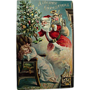 Girl Dreams Of Santa Christmas Postcard 1906 Sanders