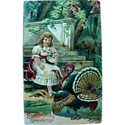 Thanksgiving Greetings Postcard Girl Feeding The Turkeys
