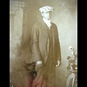 Black Americana Rppc Real Photo Postcard Man Posing With Cap Horwich Bros Postal Studio California