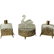 Vanity Dresser Set 3 Pieces Ormolu Powder Jar Perfume Bottle Made By Jeanette Glass - Red Tag Sale Item