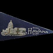 Vintage 1950's Souvenir Of Havana Cuba Felt Pennant