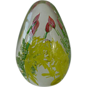 Large Egg Shaped Paper Weight Lovely Flowers Design