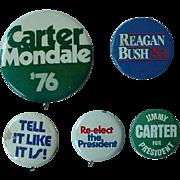 Vintage Political Button Lot Of 5  Carter Reagan Nixon