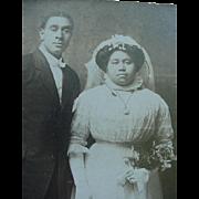 Black Americana Bride And Groom Wedding Photo Cabinet Card Late 1890's Arkansas City Kansas
