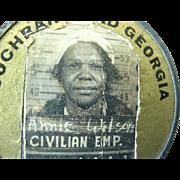 Black Americana Worker Employee Photo Id  Badge 1930s-40s  Cochran Field Georgia