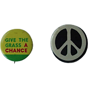 Give The Grass A Chance 1960s Hippie Marijuana Political Peace Statement Pin Button Lot of 2 Also Peace Button