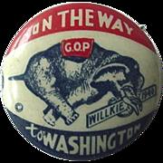 1940s On The Way To Washington Wilkie Pinback Button