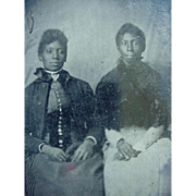 Back Americana Photo Tintype Two Well Dressed Ladies Sitting - Red Tag Sale Item