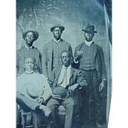 Black Americana Tintype Group Of Five Men All With Hats And Cigars