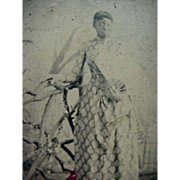 Black Americana Tintype Photo Lady Standing With Hand Resting On Fence