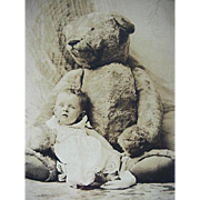 Rppc Real Photo Postcard Baby With Large Teddy Bear