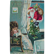 A Merry Christmas Incised Postcard Santa Coming Through Window With Tree And Bag Of Toys