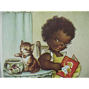 Black Americana Postcard Girl Reading Cat On  Table