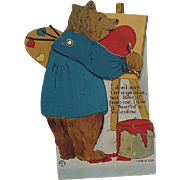 Louis Katz Mechanical Valentine Day Card 1924 Bear Painting On Easel