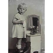 Girl With Teddy Bears Postcard Standing In Front Of Toy Dresser