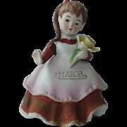 Lefton March Birthday Girl Figurine Holding a Daffodil