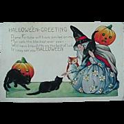 Halloween Postcard Whitney 1920s Witch Cats JOL Owl