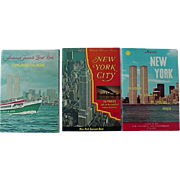 New York City Souvenir Nester Bi Centennial  Cruise Guide Book Lot Of 3 Books 1970s Features World Trade Center