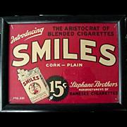 Smiles Cigarettes Framed Advertising 1930s