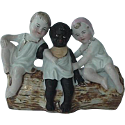 Black Americana German Bisque Figural Figurine Dish Three Kids Sitting On A Log